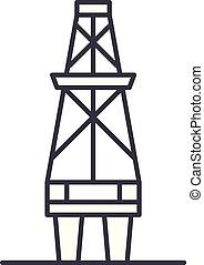 Fuel production line icon concept. Fuel production vector linear illustration, symbol, sign