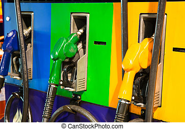 Fuel pump in a gas station at night