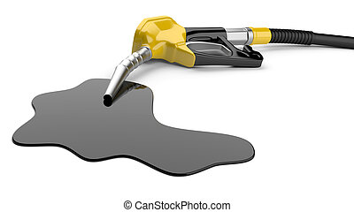 Fuel pump nozzle and pool of oil on a white background