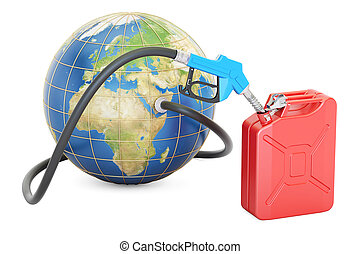 Fuel pump nozzle connected with Earth and jerrycan, 3D...