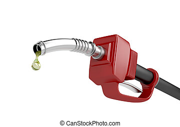 Fuel pump nozzle with last drop of fuel, isolated on white...