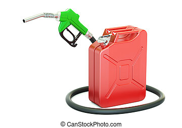 fuel pump nozzle with jerrycan, 3D rendering isolated on...