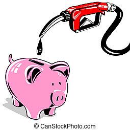 Fuel Pump Station Nozzle Retro - Illustration of a gas...