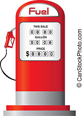 fuel pump vector - red fuel pump isolated over white...