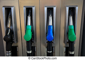 Fuel pumps at the service station.