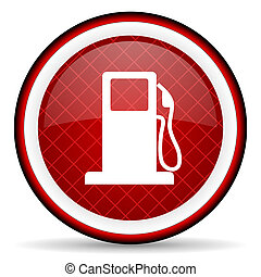 fuel red glossy icon on white background