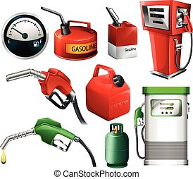 Fuel set - Different set of fuels on a white background