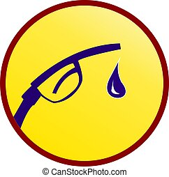 Fuel sign - Illustration of a sign of fuel drop in a circle...