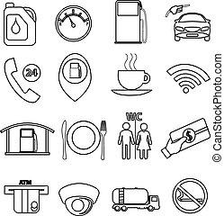 Fuel station line icons set