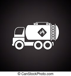 Fuel tank truck icon. Black background with white. Vector...