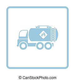 Fuel tank truck icon. Blue frame design. Vector...