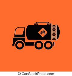 Fuel tank truck icon. Orange background with black. Vector...