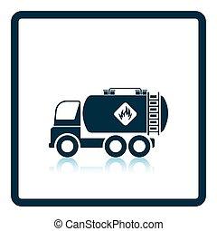 Fuel tank truck icon. Shadow reflection design. Vector...