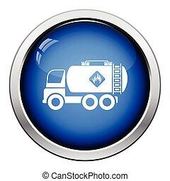 Fuel tank truck icon. Glossy button design. Vector...