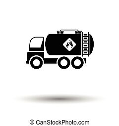 Fuel tank truck icon. White background with shadow design....
