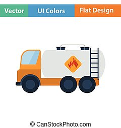 Fuel tank truck icon. Flat design. Vector illustration.