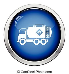 Fuel tank truck icon. Glossy button design. Vector...