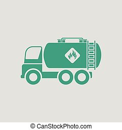 Fuel tank truck icon. Gray background with green. Vector...