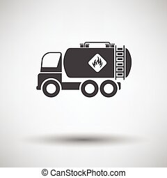 Fuel tank truck icon on gray background, round shadow....