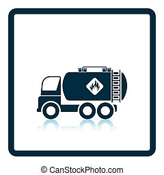 Fuel tank truck icon. Shadow reflection design. Vector...