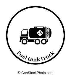 Fuel tank truck icon. Thin circle design. Vector...