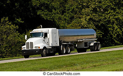 Fuel Tanker Transport Truck - A fuel tanker transport truck...