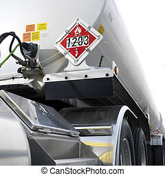 Fuel tanker truck. - Fuel tank truck with flammable warning ...