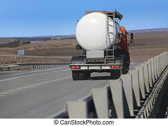 fuel tanker truck - fuel tanker track moves on highway