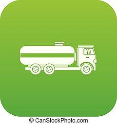 Fuel tanker truck icon digital green