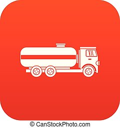 Fuel tanker truck icon digital red