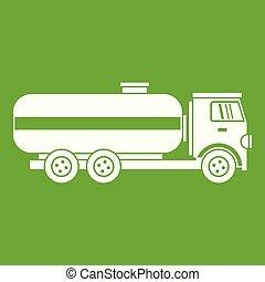 Fuel tanker truck icon green