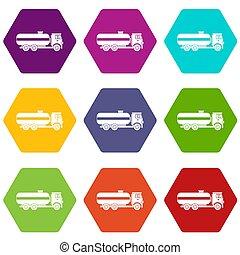 Fuel tanker truck icon set color hexahedron