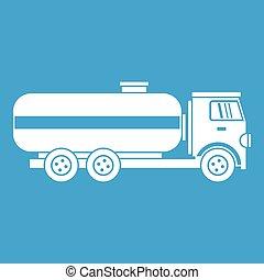 Fuel tanker truck icon white