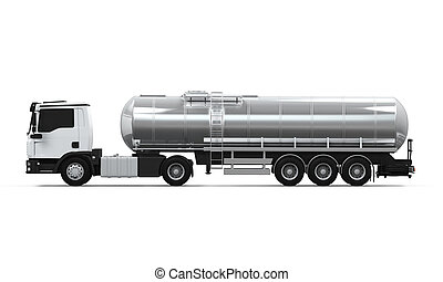 Fuel Tanker Truck isolated on white background. 3D render