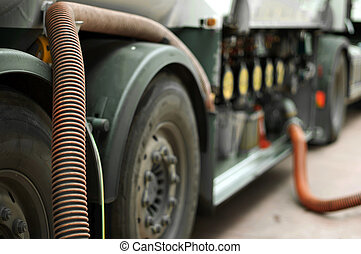 Fuel truck close up - Fuel truck which refill. Hoses and ...