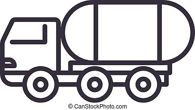 fuel truck vector line icon, sign, illustration on...