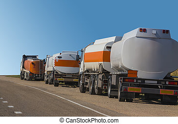Fuel trucks at the roadside - Fuel trucks parked on the side...