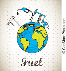 fuel vector - fuel concept with planet, vintage style....