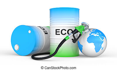 fueling earth from pump nozzle on white background. ...