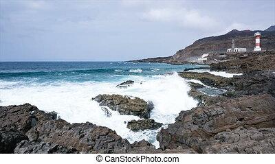 Fuencaliente Coastline In La Palma, Spain - Black volcanic...