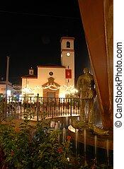 fuengirola, 教会, 夜, spain.