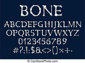 fuente, alfabeto, huesos, esqueleto, tipo humano