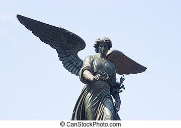 fuente de bethesda, ángel, parque central, ny