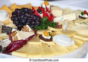 fuente de queso, en, un, buffet