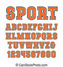 fuente, estilo, deporte, serif, contorno