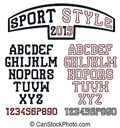 fuente, estilo, deporte, serif, retro