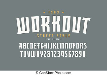 fuente, estilo, deporte, serif