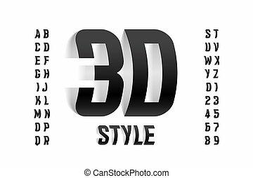 fuente, estilo, tridimensional