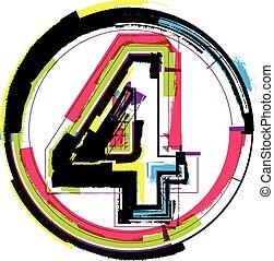 fuente, grunge, número, colorido, 4