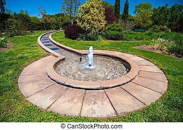 fuente, jardín botánico